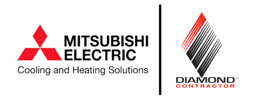 Mitsubishi Electric Cooling and Heating Solutions logo is a red triangle made of diamonds and the Diamond Contractor logo is a diamond with black and red lines